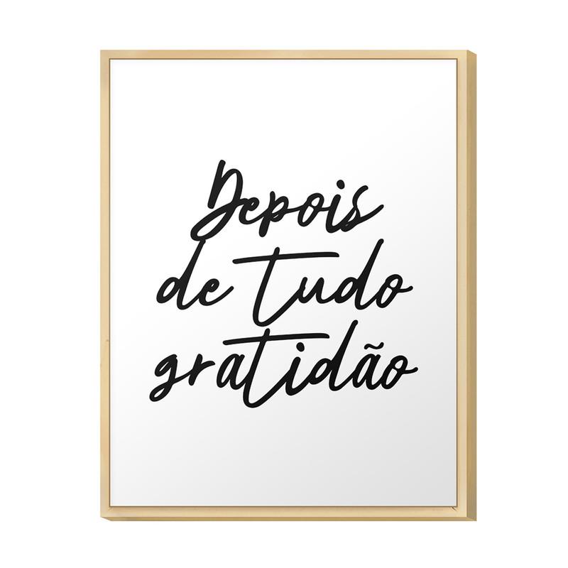 Quadro Decorativo para Corredor 20x30cm Frase Gratidão Motivação Preto e Branco - Hugart