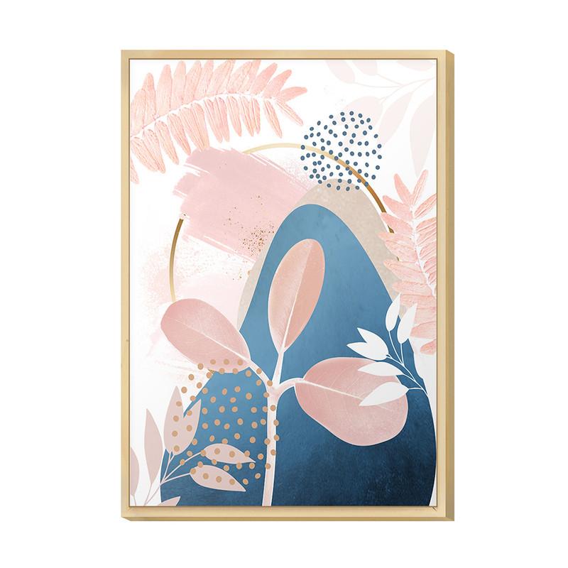 Quadro Decorativo para Cozinha 20x30cm Desenho Plantas Rose Gold Blue com Moldura Caixa - Hugart