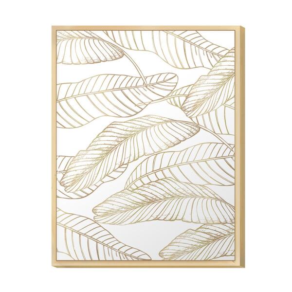 Quadro Decorativo para Cozinha e Sala 30x40cm Folhagens Gold com Moldura Caixa Pinus - Hugart