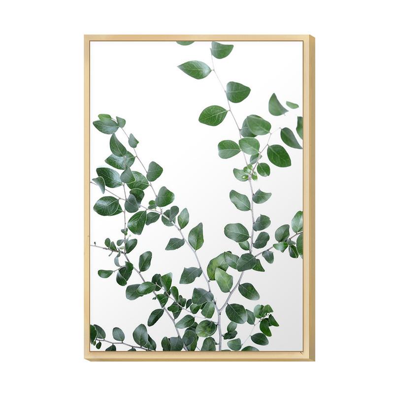 Quadro Decorativo para Cozinha Moderna 20x30cm Folhagens Planta Verde com Moldura Caixa - Hugart