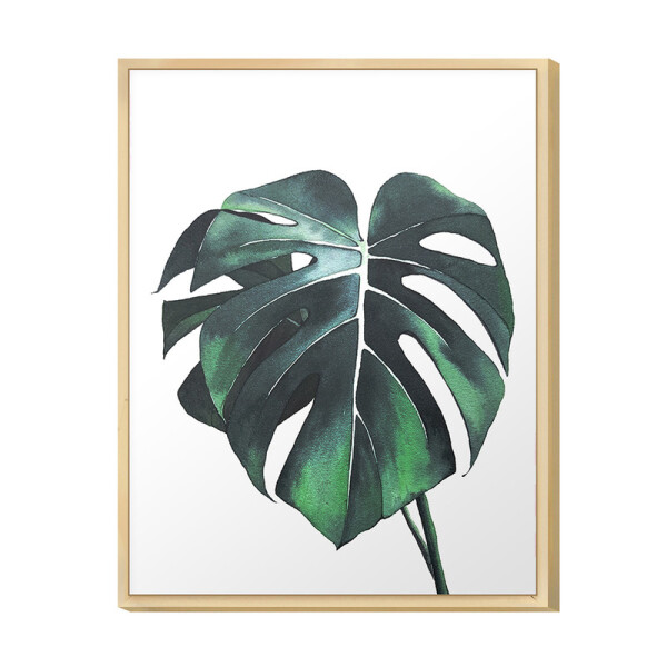 Quadro Decorativo para Escritório 30x40cm Folhas Plantas Verde Moldura Caixa Pinus - Hugart
