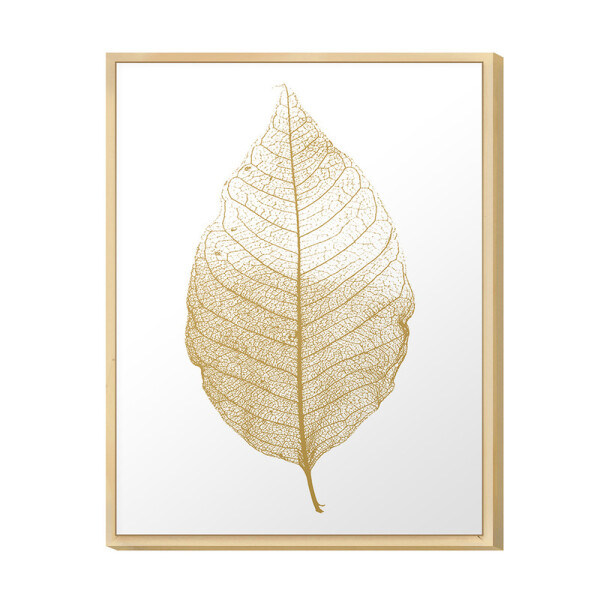 Quadro Decorativo para Hall de Entrada 30x40cm Folha White Gold com Moldura em Pinus - Hugart