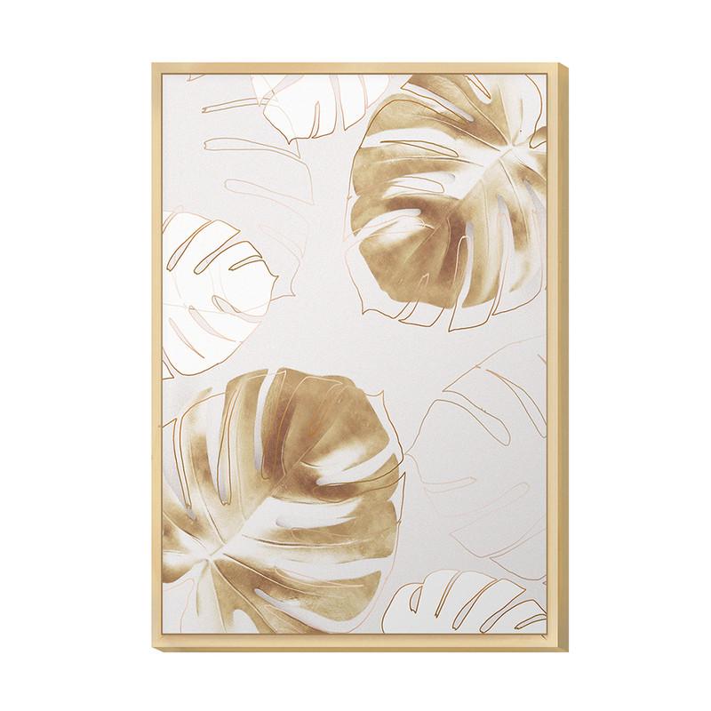Quadro Decorativo para Hall de Entrada com Moldura 20x30cm Folhas Gold Desenho Plantas - Hugart