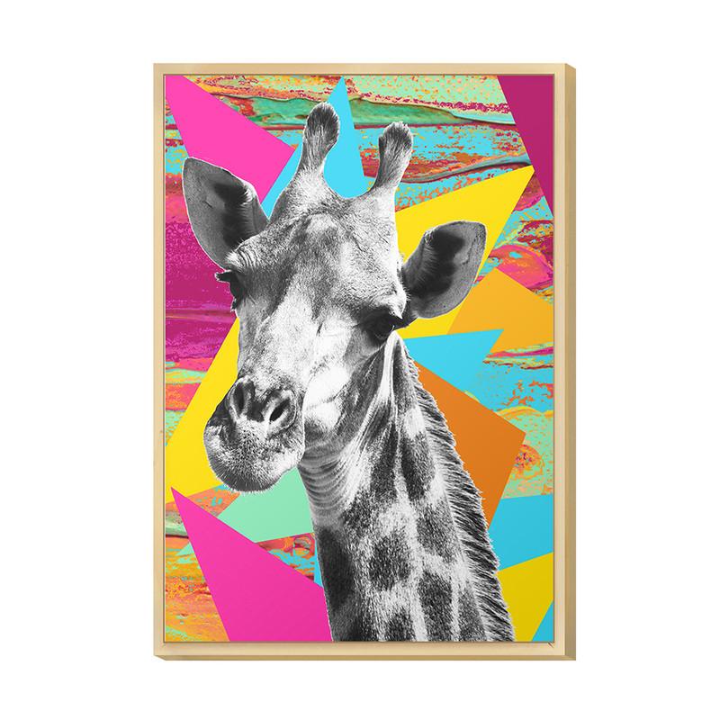 Quadro Decorativo para Quarto Casal 20x30cm Surreal Girafa Colorido Moldura Caixa Pinus Hugart