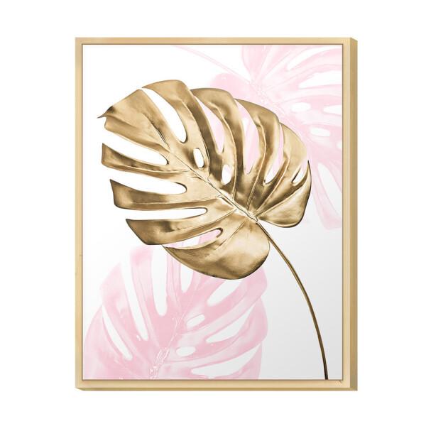 Quadro Decorativo para Quarto de Casal 30x40cm Planta Costela de Adão Rose e Gold Feminino - Hugart