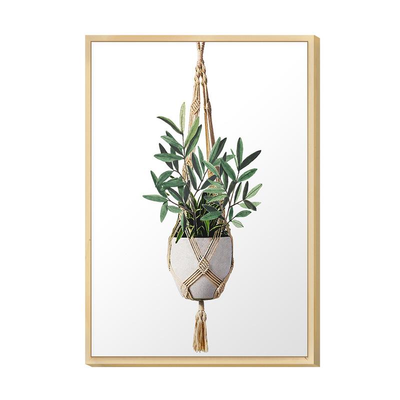 Quadro Decorativo para Sala de Jantar 20x30cm Plantas Jardim Folhas Verdes Moldura Caixa - Hugart