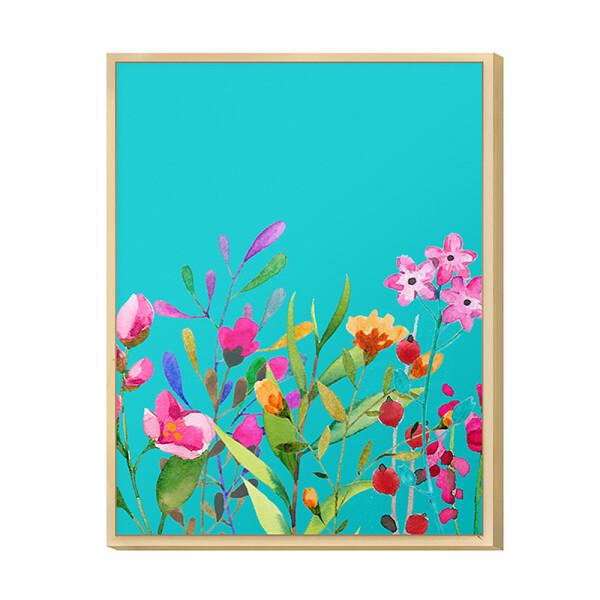 Quadro Decorativo para Sala de Jantar 30x40cm Flores Jardim Natureza Colorido com Moldura - Hugart