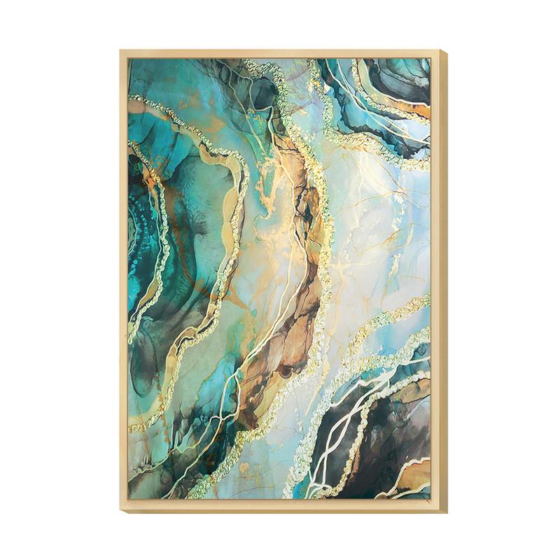 Quadro Decorativo para Sala Moderna com Moldura Caixa 20x30cm Verde Tons Azul Abstrato - Hugart