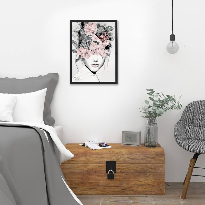 Quadro Decorativo Sala com Moldura Preta 60x40cm Mulher Flores Surreal Moderno Colorido - Hugart