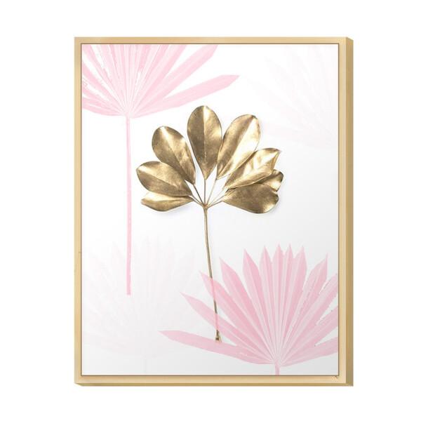 Quadro Moderno Decorativo para Cozinha 30x40cm Rosa Gold Flor Moldura Caixa em Pinus - Hugart