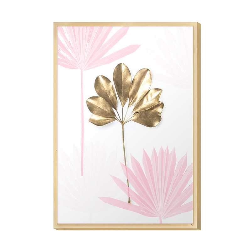 Quadro Moderno Decorativo para Escritório 20x30cm Flor Rose Gold Moldura Caixa em Pinus - Hugart