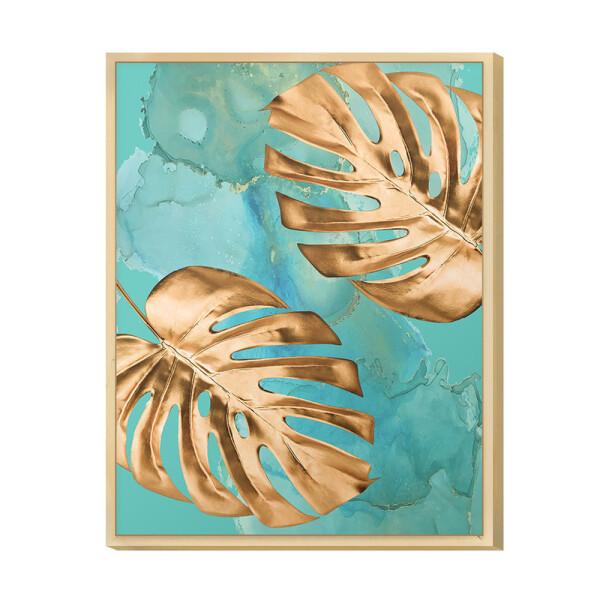 Quadro Moderno Decorativo para Sala de Jantar 30x40cm Folha Gold Formas e Azul com Moldura - Hugart