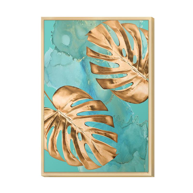 Quadro Moderno para Decorar Hall de Entrada 20x30cm Azul Folha Gold Planta Formas - Hugart