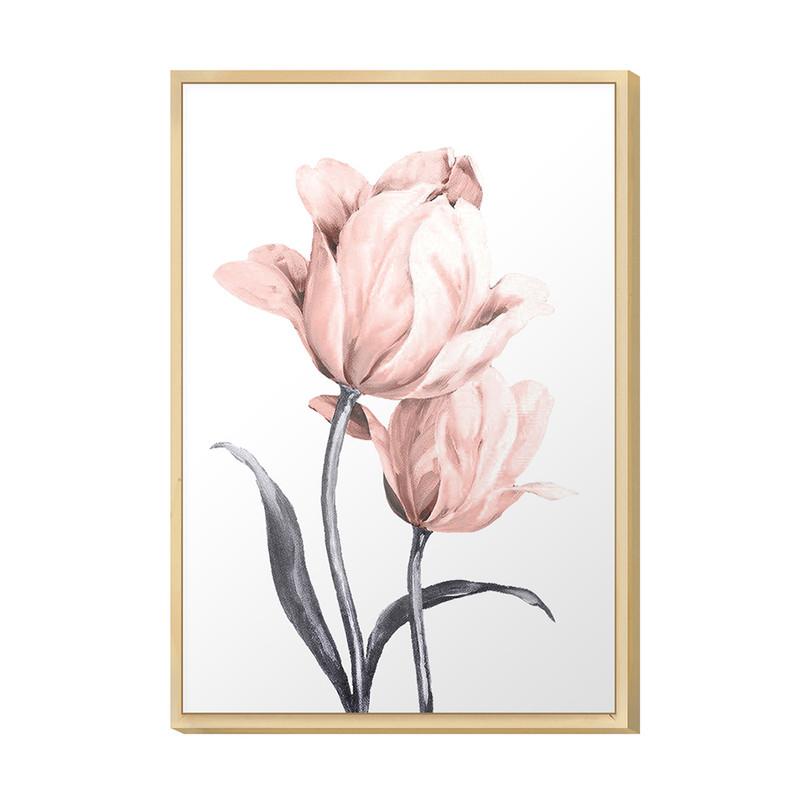 Quadro para Decoração da Sala 20x30cm Rosa Floral Jardim Moldura Caixa em Pinus - Hugart