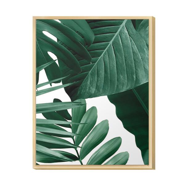 Quadro para Decoração de Cozinha 30x40cm Moldura Pinus Folhas Verdes Jardim Moderno - Hugart