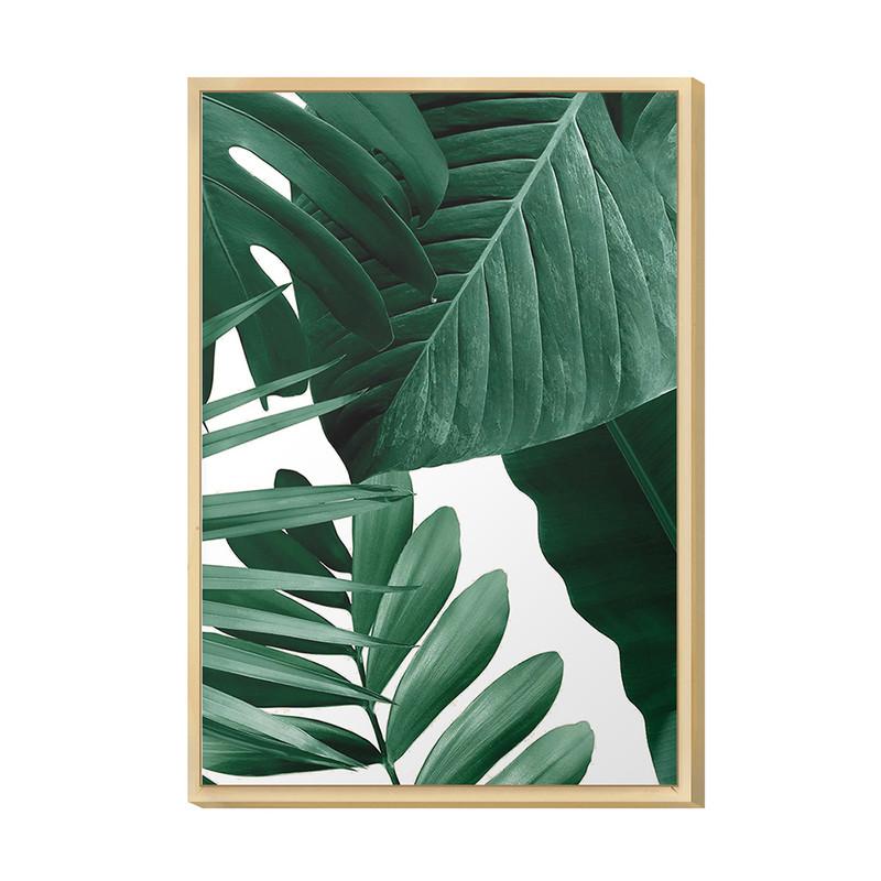 Quadro para Decorar Sala de Apto Moderno 20x30cm Folhas Verdes Jardim Moldura Caixa Pinus - Hugart