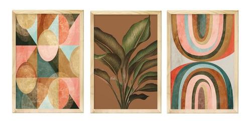 Trio De Quadros Decorativos Planta Geométrico Folhagem Sala