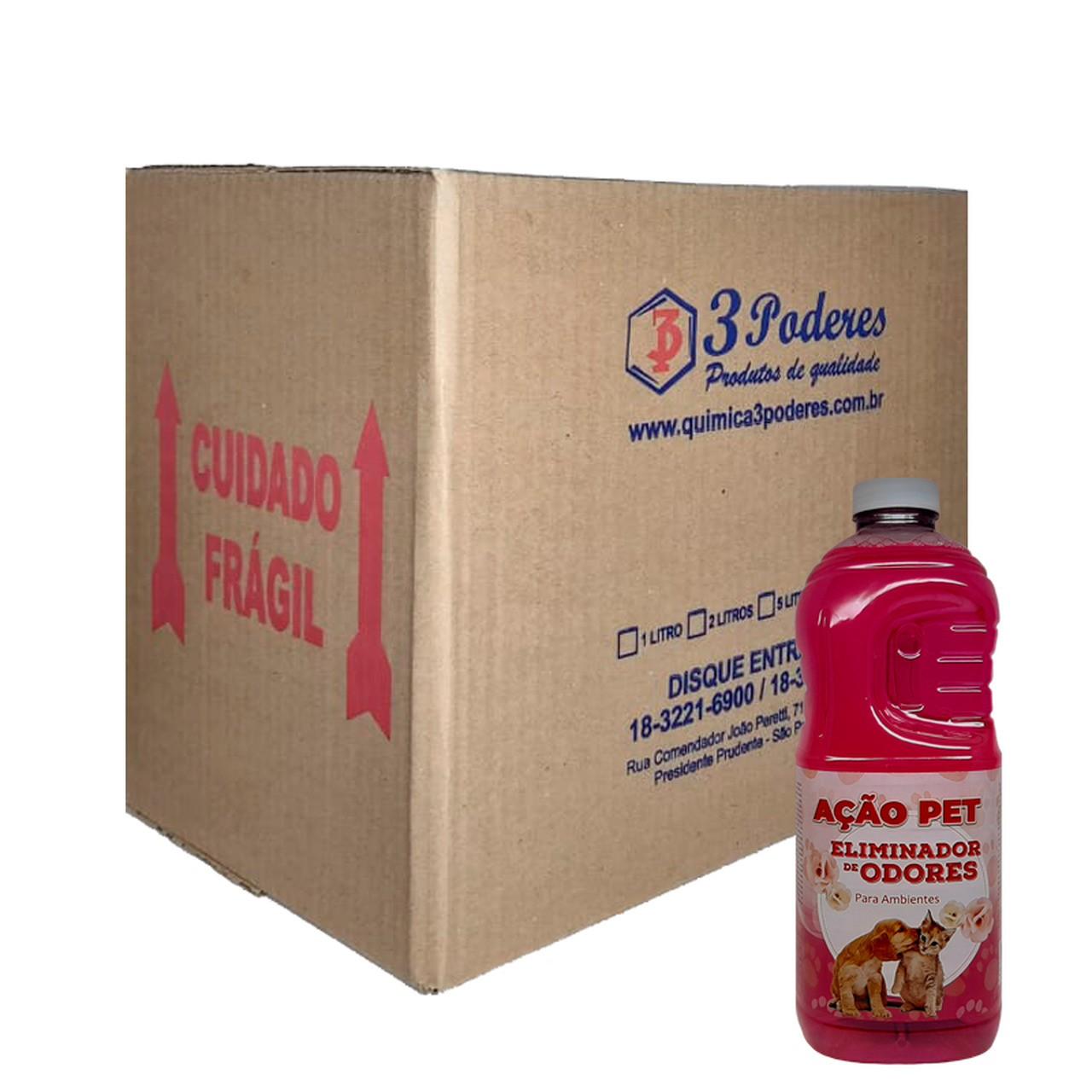 AÇÃO PET 3 Poderes 2LTS - Eliminador De Odores Para Ambientes - Caixa com 6 Un.