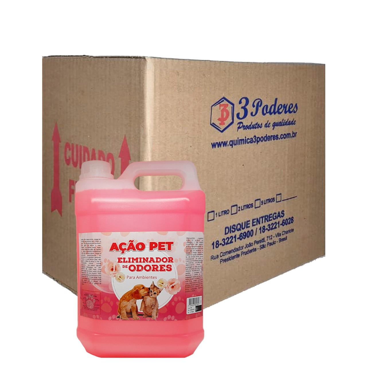 AÇÃO PET 3 Poderes 5LTS - Eliminador De Odores Para Ambientes - Caixa com 4 Un.