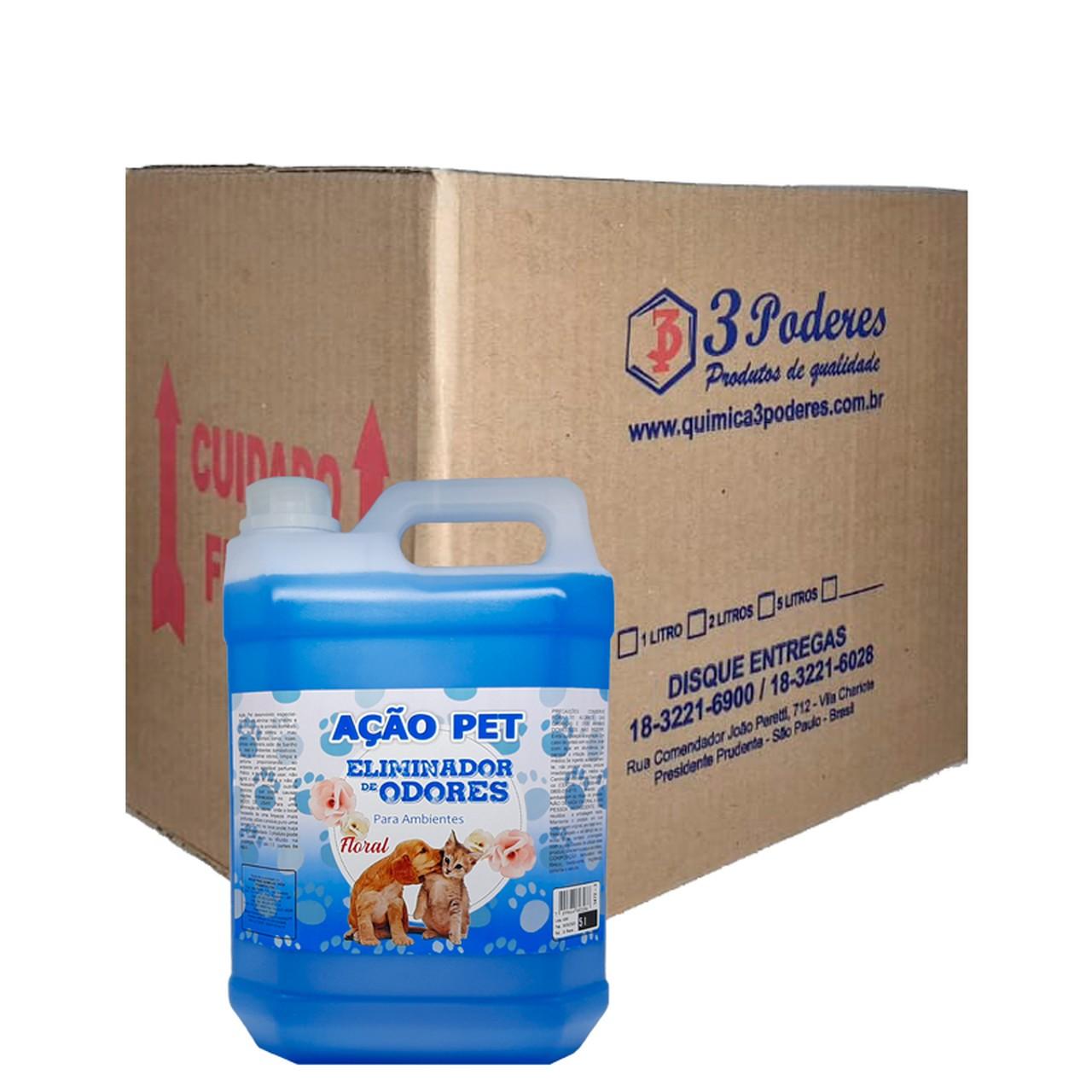 AÇÃO PET Floral 3 Poderes 5LTS - Eliminador De Odores Para Ambientes - Caixa com 4 Un.