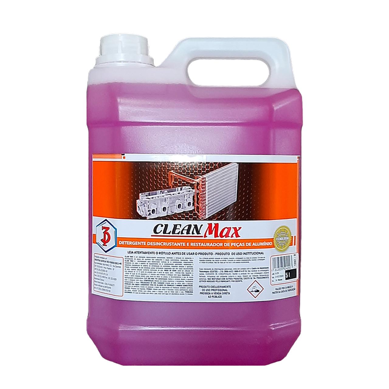 Clean Max 3 Poderes 5LTS - Detergente Desincrustante, Restaurador e Abrilhantador de Peças de Alumínio