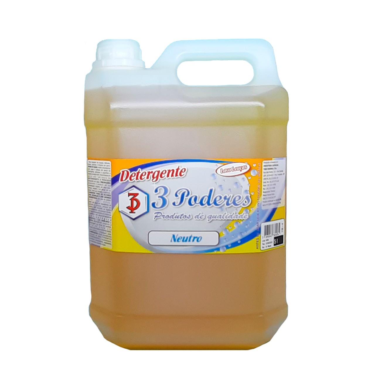 Detergente Neutro 3 Poderes 5 LTS - Lava Louças
