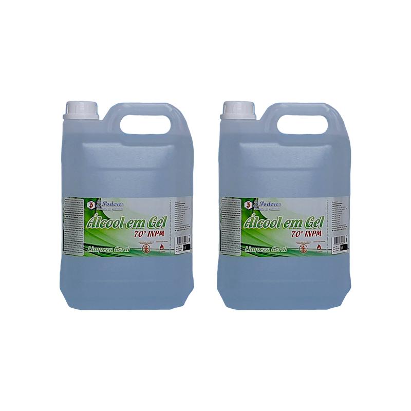 Kit 2 Álcool em Gel 70° INPM 3 Poderes 5Lts