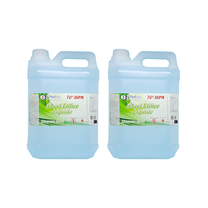 Kit 2 Álcool Etílico Líquido 70° INPM 3 Poderes 5LTS - Limpeza Geral