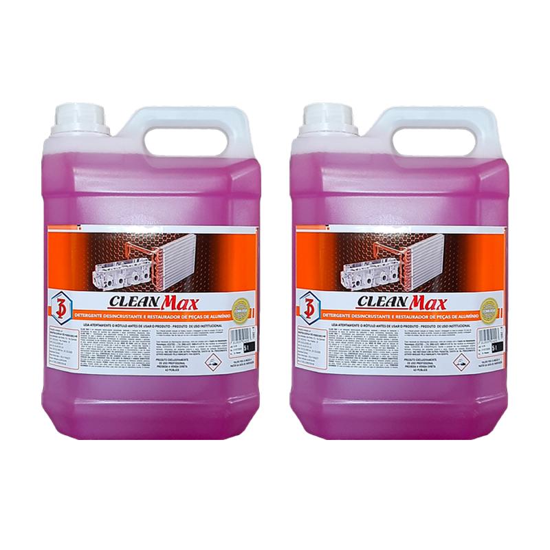 Kit 2 Clean Max 3 Poderes 5LTS - Detergente Desincrustante, Restaurador e Abrilhantador de Peças de Alumínio
