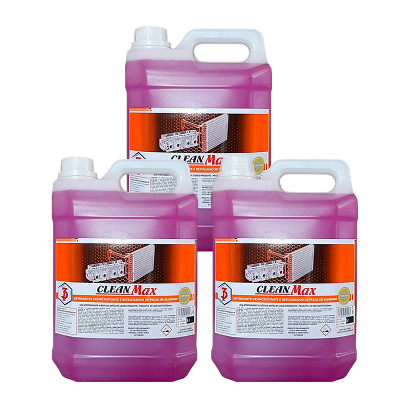 Kit 3 Clean Max 3 Poderes 5LTS - Detergente Desincrustante, Restaurador e Abrilhantador de Peças de Alumínio