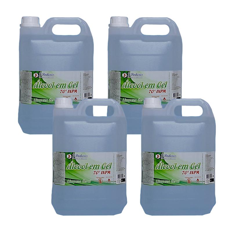 Kit 4 Álcool em Gel 70° INPM 3 Poderes 5Lts