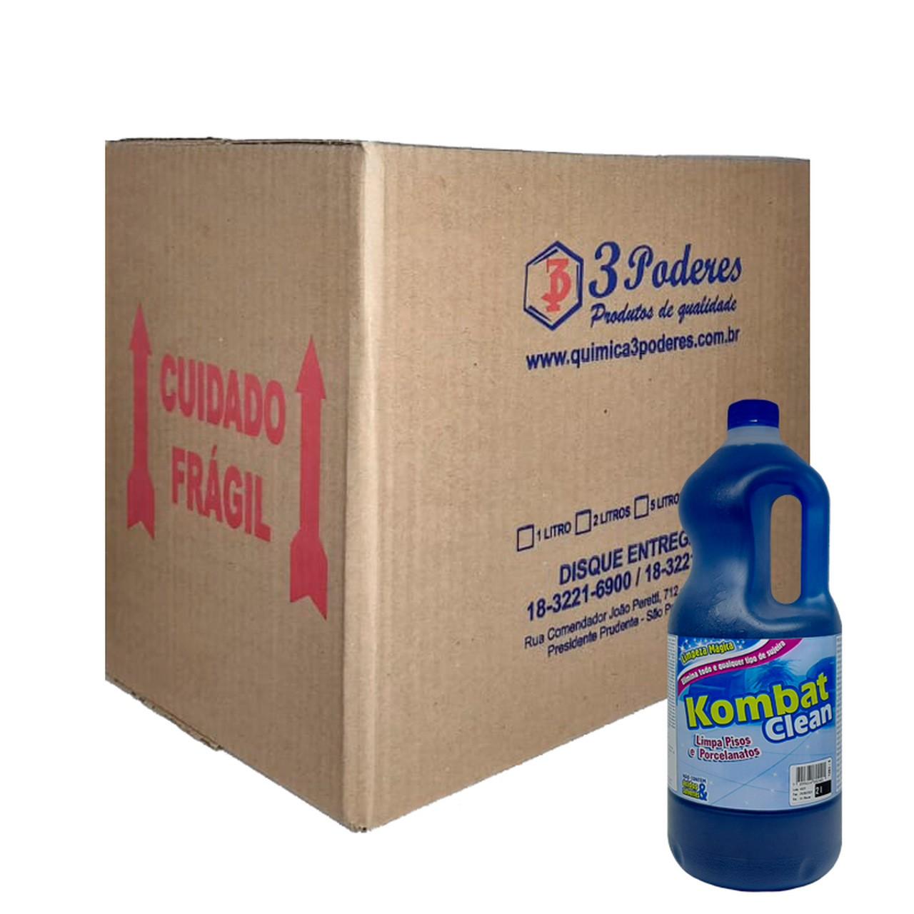 Kombat Clean 3 Poderes 2LTS - Limpa Pisos e Porcelanatos - Caixa com 6 Un.