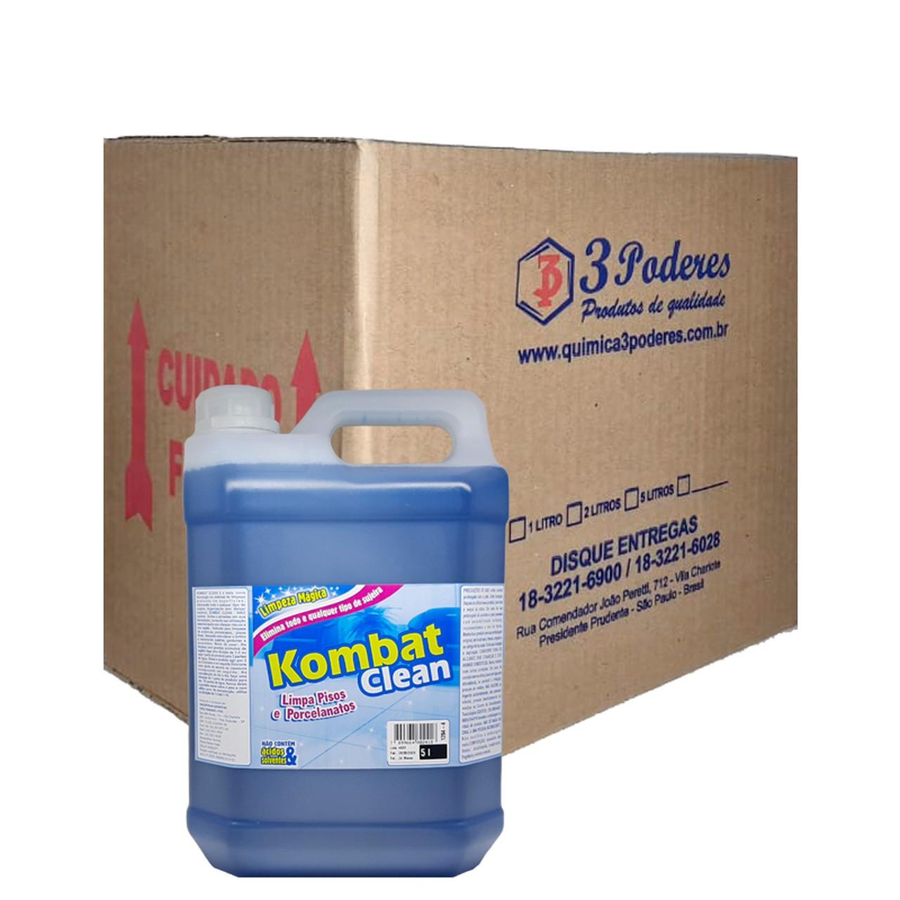 Kombat Clean 3 Poderes 5LTS - Limpa Pisos e Porcelanatos - Caixa com 4 Un.