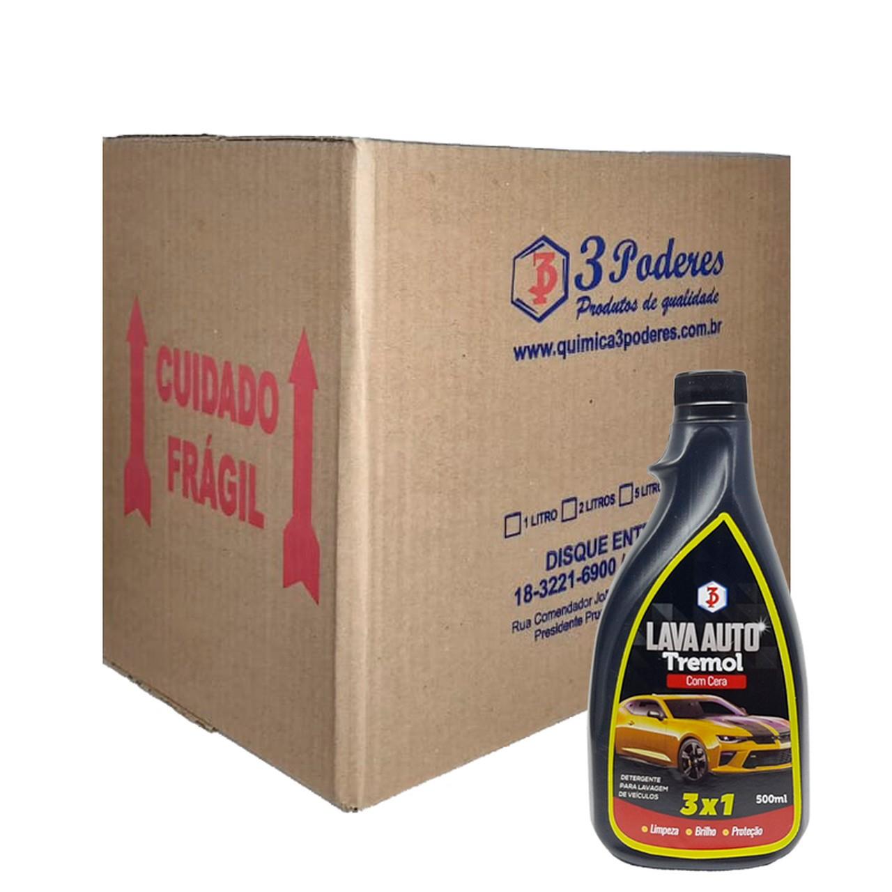 Lava Auto 3 em 1 Tremol 3 Poderes 500ML - shampoo com cera para lavagem de veiculos - Caixa com 12 Un.