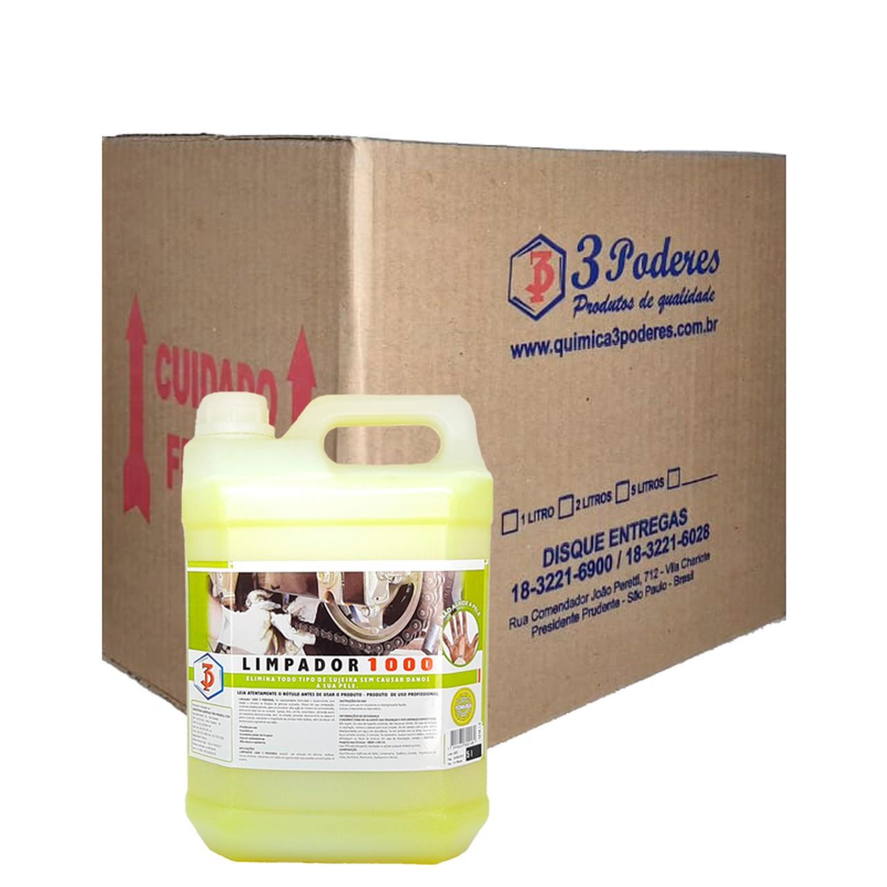 Limpador 1000 3 Poderes 5LTS - Desengraxante para as Mãos com esfoliante cosmético - Caixa com 4 Un.