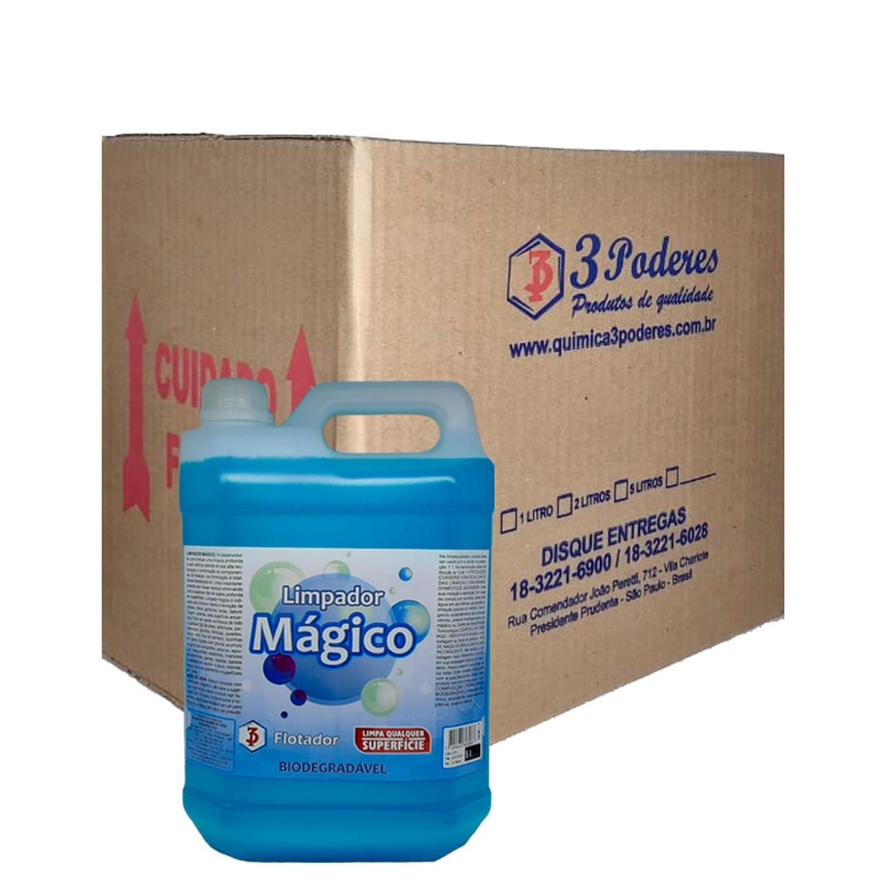 Limpador Mágico 3 Poderes 5LTS - Flotador Multiuso Biodegradável - Caixa com 4 Un.
