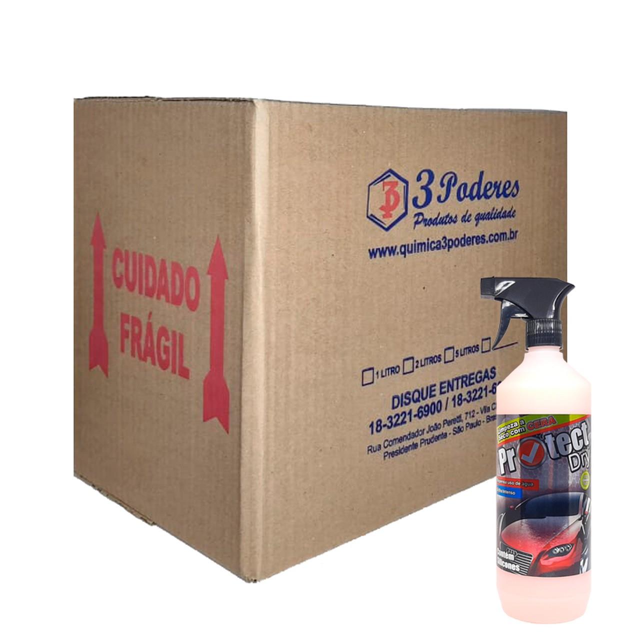 Protect DRY 3 Poderes 1L - Cera Limpadora à seco de auto brilho para automóveis com silicone - Caixa com 12 Un.