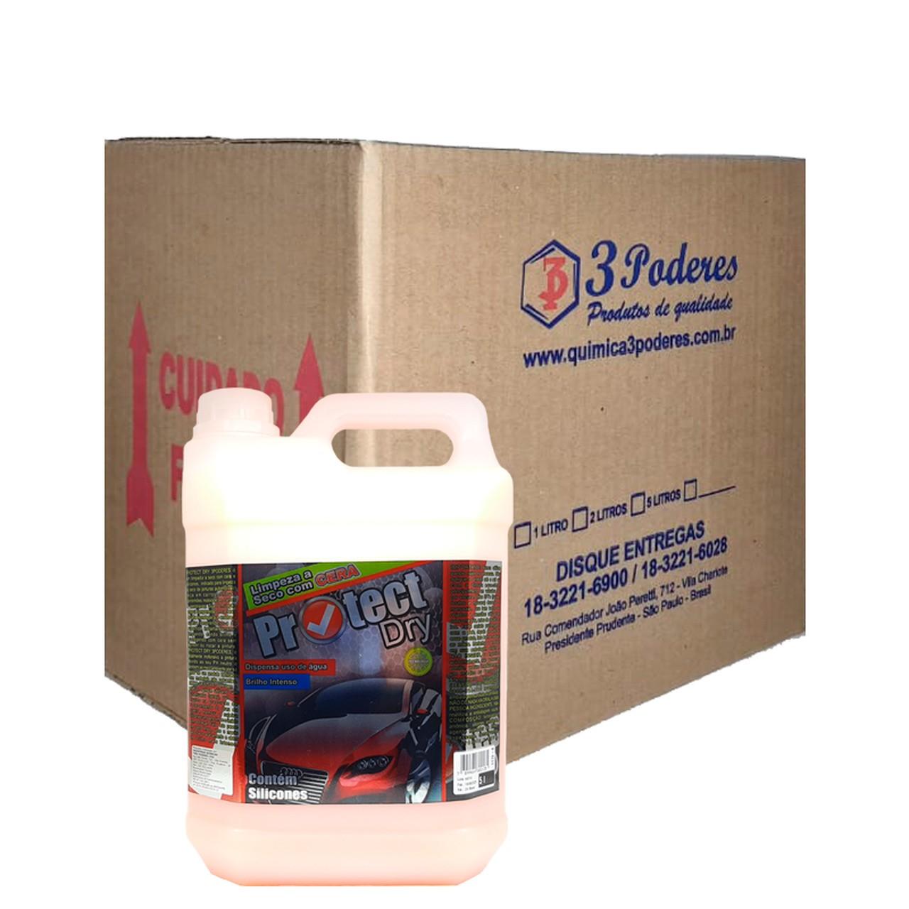Protect DRY 3 Poderes 5LTS - Cera Limpadora à seco de auto brilho para automóveis com silicone - Caixa com 4 Un.