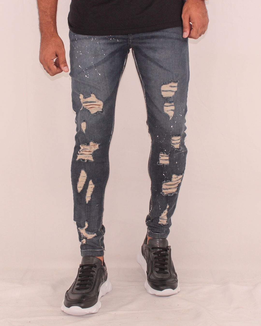 CALÇA JEANS SKINNY DESTROYED JOHN JONES DARK SPLASH