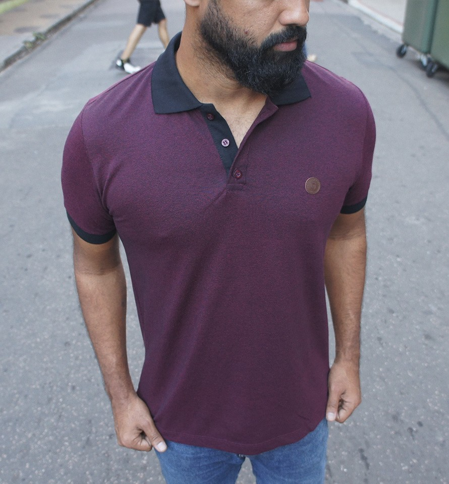 CAMISA POLO BLACK WEST STUNT PTO/BORDO