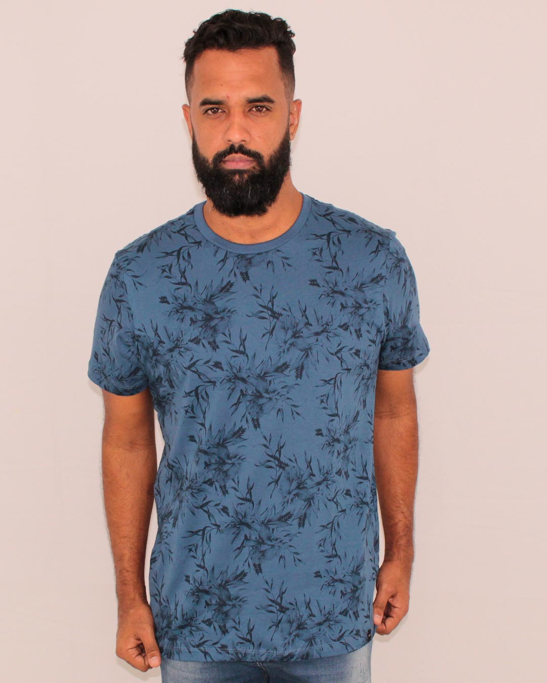 CAMISETA ESTAMPADA ALL FREE FLORAIS AZUL