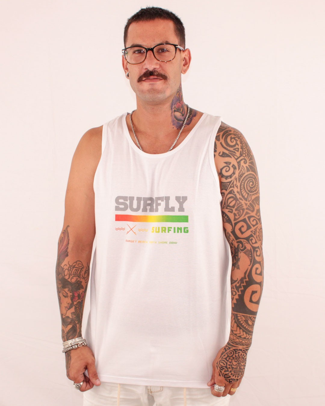 CAMISETA REGATA SURFLY SURFING BRANCA - SURFLY