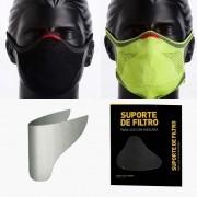 KIT 1 Máscaras Preta + 1 Máscara Verde Limão + 2 Refis de Filtro + 2 Suportes
