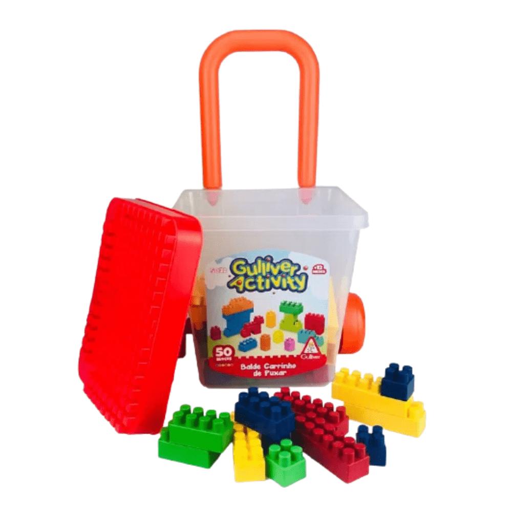 Balde Carrinho de Puxar Bricks e Klicks com 50 blocos - Gulliver
