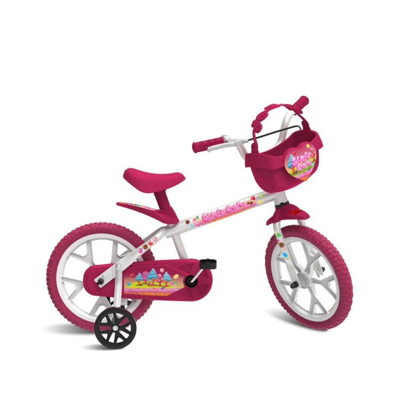 Bicicleta Sweet Game Rosa/br Aro14 Infantil Bandeirante 3068