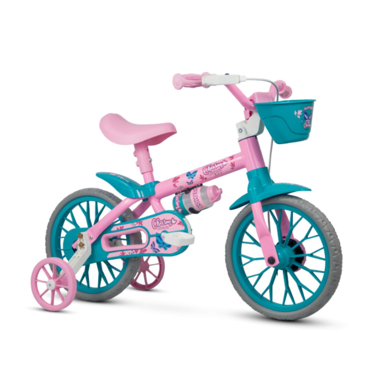 Bicicleta Charm Aro 12 Infantil Rosa com Cestinha
