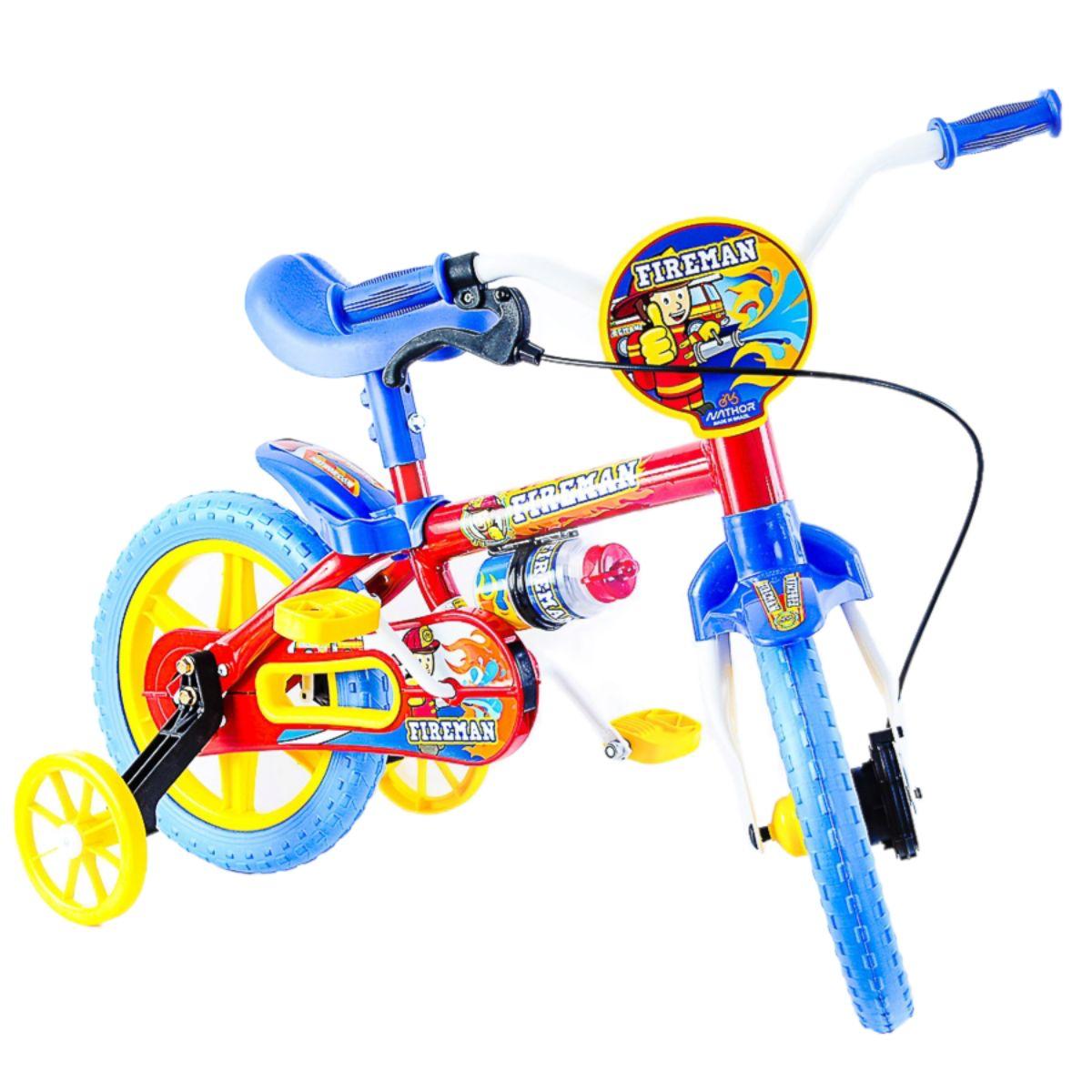 Bicicleta Fireman aro 12 Bombeiro Azul e Vermelho