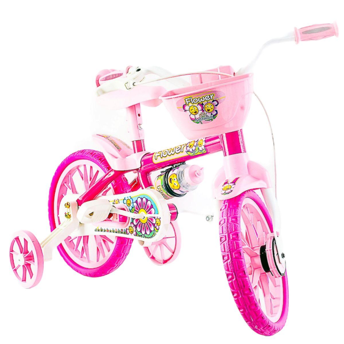 Bicicleta Flower Infantil Menina Aro 12 Rosa - com Cestinha