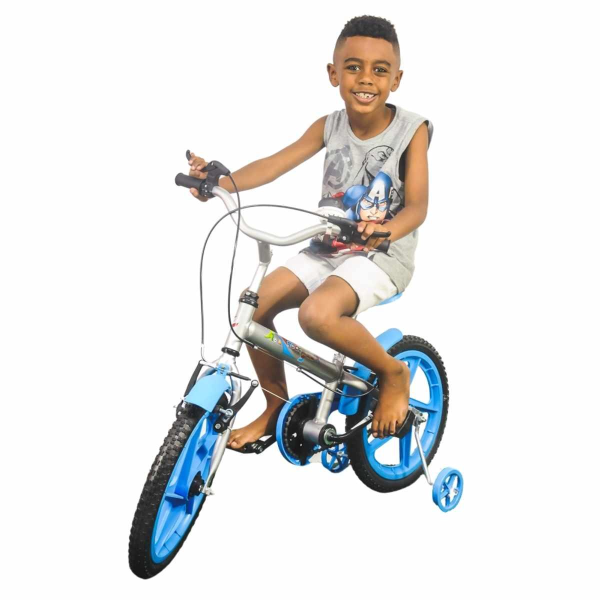 Bicicleta Infantil Rock Prata e Azul Aro 16 com rodinha