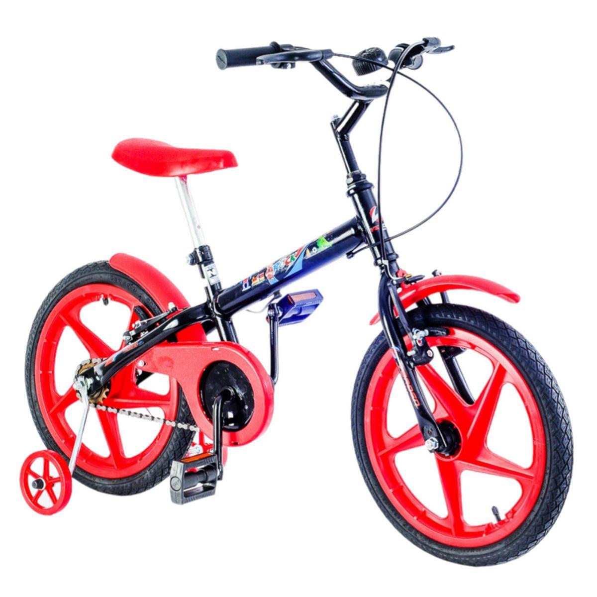 Bicicleta Infantil Rock Preta e Vermelha Aro 16 com rodinha